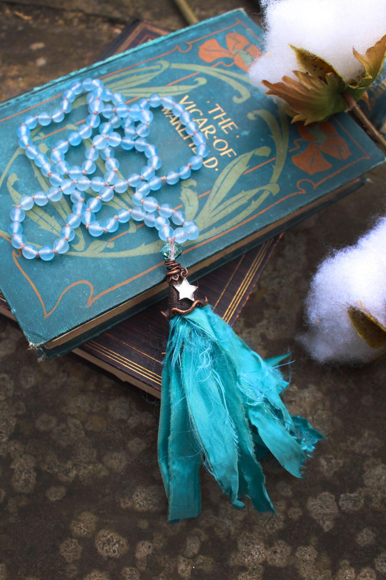 Aquamarine Mermaid Beaded Tassel Necklace in Serene Waters