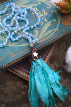 Aquamarine Mermaid Beaded Tassel Necklace in Serene Waters