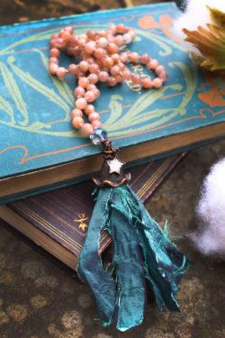 Sunstone Boho Tassel Necklace with Pretty Mirror Star Charm - Mermaid Jewelry and Ocean Art