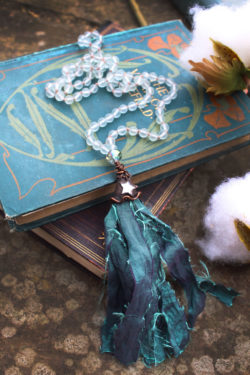 Mermaid Beaded Tassel Necklace with Frosted Sea Glass Beads, Taffeta and Mirror Star – By Amillia
