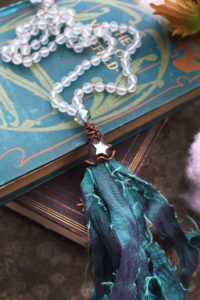 Mermaid Beaded Tassel Necklace with Frosted Sea Glass Beads, Taffeta and Mirror Star - By Amillia