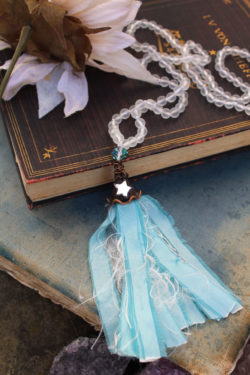 Sea Glass Beaded Tassel Necklace with Frosted beads in White, Taffeta and Mirror Star - By Amillia