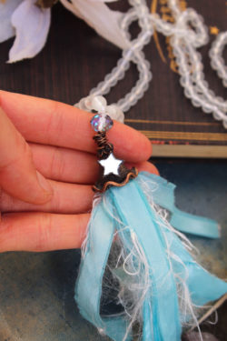 Sea Glass Beaded Tassel Necklace with Frosted beads in White, Taffeta and Mirror Star – By Amillia