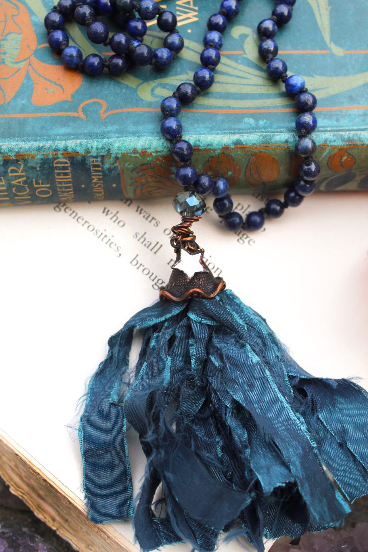 Lapis Lazuli Beaded Tassel Necklace with Pretty Mirror Star Charm – Mermaid Jewelry and Ocean Art