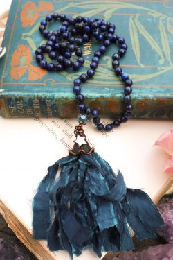 Lapis Lazuli Beaded Tassel Necklace with Pretty Mirror Star Charm - Mermaid Jewelry and Ocean Art