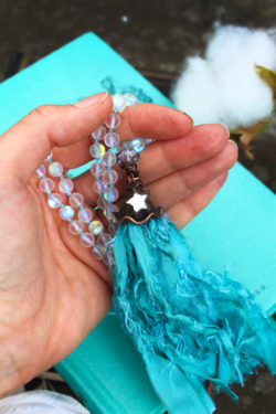 Mermaid White Aura Beaded Tassel Necklace with sea green Tassel and Little Mirror Star Charm