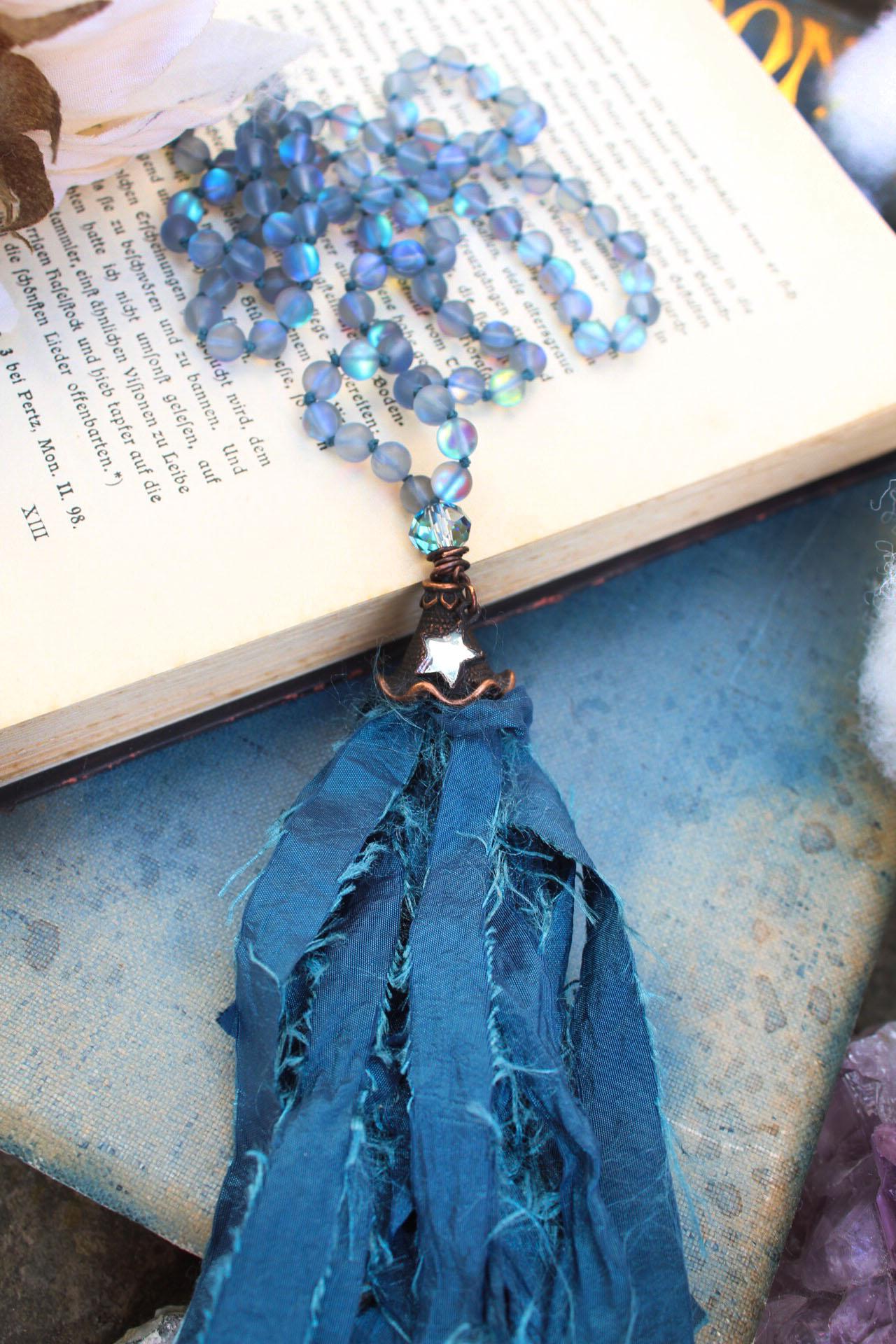 Mermaid Blue Aura Beaded Tassel Necklace with Dark Blue Tassel and Little Mirror Star Charm