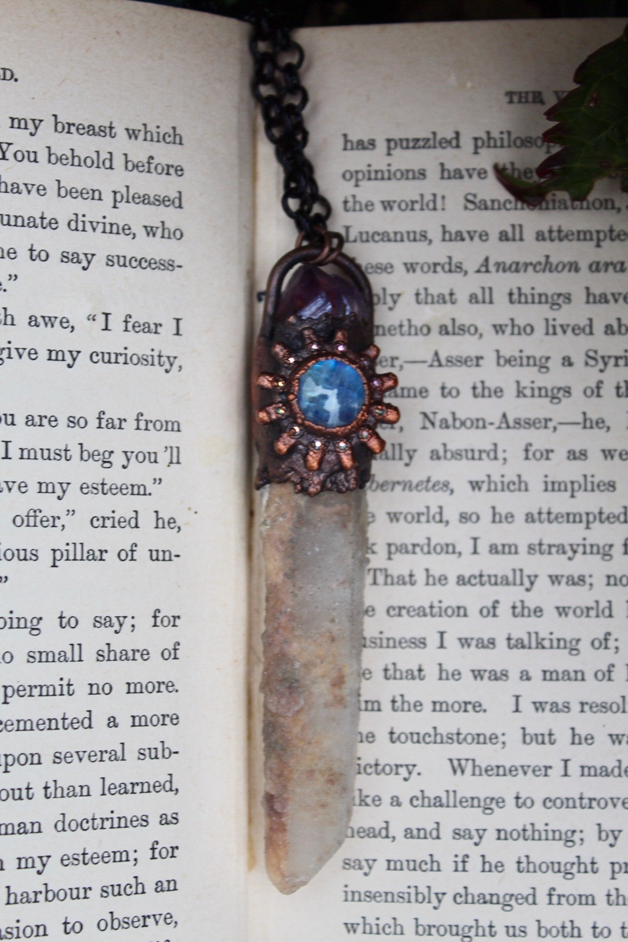 Fairy Quartz Necklace with a Rainbow Moonstone Cabochon in Misty Blue and an Amethyst Aura Point