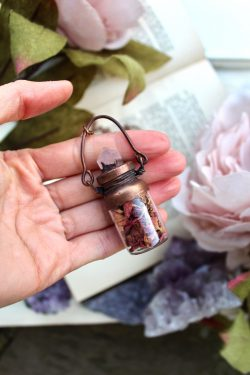 Rose Petal Necklace in a Bottle with a Rose Quartz Crystal Point