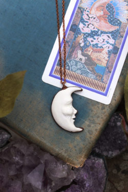 Crescent moon necklace man in the moon