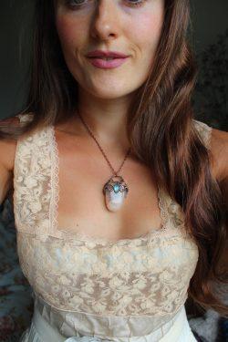 Quartz and Blue Labradorite Mermaid Portal Necklace