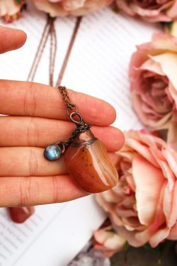 Apricot Agate Necklace with Rainbow Moonstone Charm