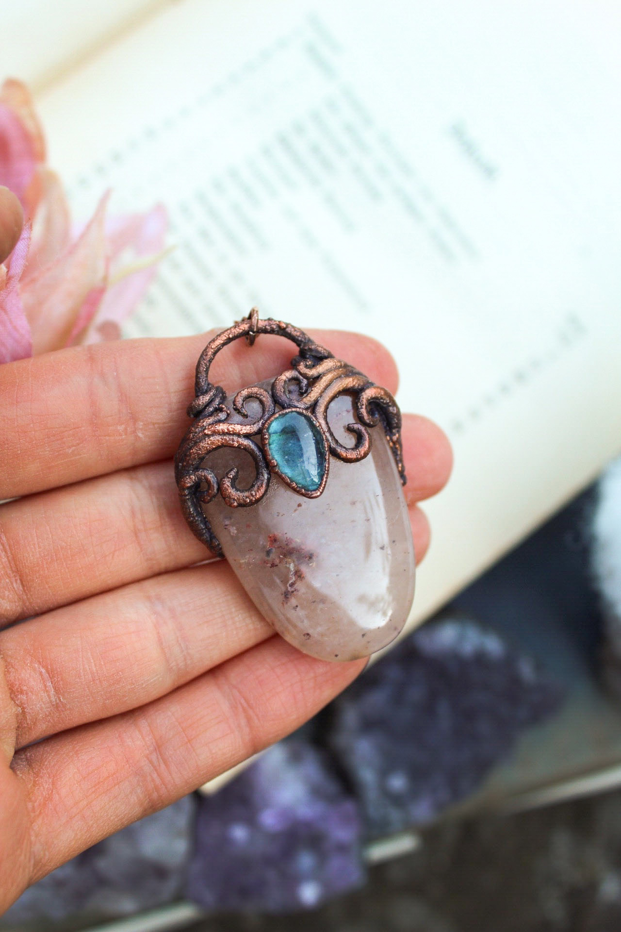 Lovely Mermaid Portal Necklace with Crystals Featuring Quartz, Aged Copper + a Blue Labradorite Tear