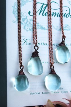 Blue Obsidian Glass Necklace with Aged Copper