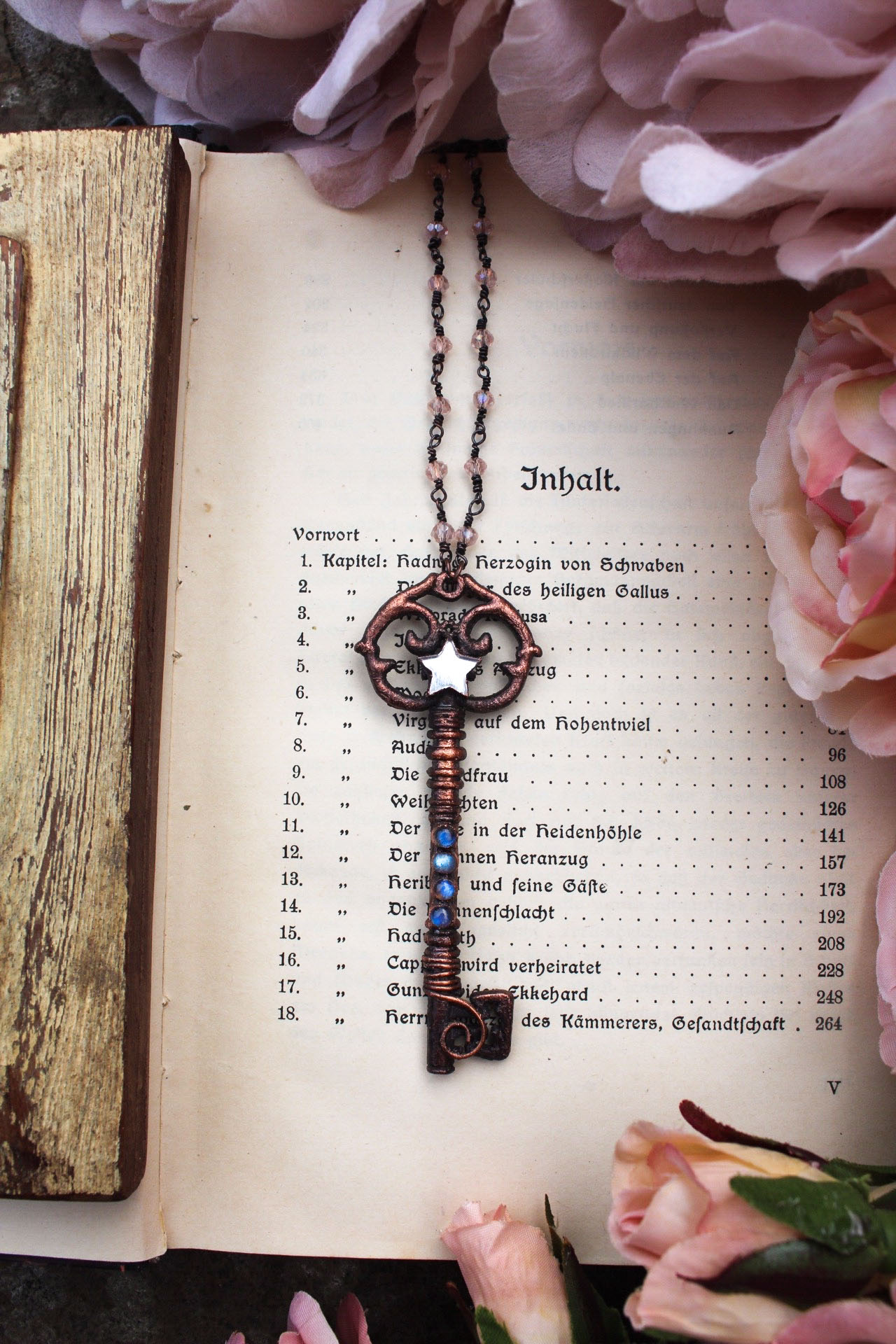 Handmade Large Boho Key Necklace with Mirror Star Charm + Blue Labradorite, Set in Aged Copper