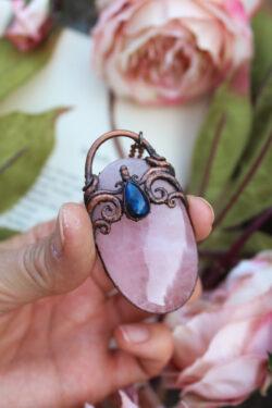 Rose Quartz and Labradorite Mermaid Portal Necklace