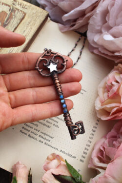 Large Boho Handmade Key Necklace with Blue Labradorite + Mirror Star Charm, Set in Aged Copper