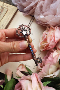 Large Boho Handmade Key Necklace with Mirror Star Charm + Blue Labradorite, Set in Aged Copper