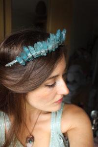 The Queen of the Ocean Crown Crystal Crown in Sea Blue Quartz