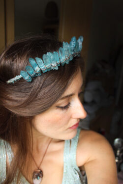 The Queen of the Ocean Crown Crystal Crown in Sea Blue Quartz