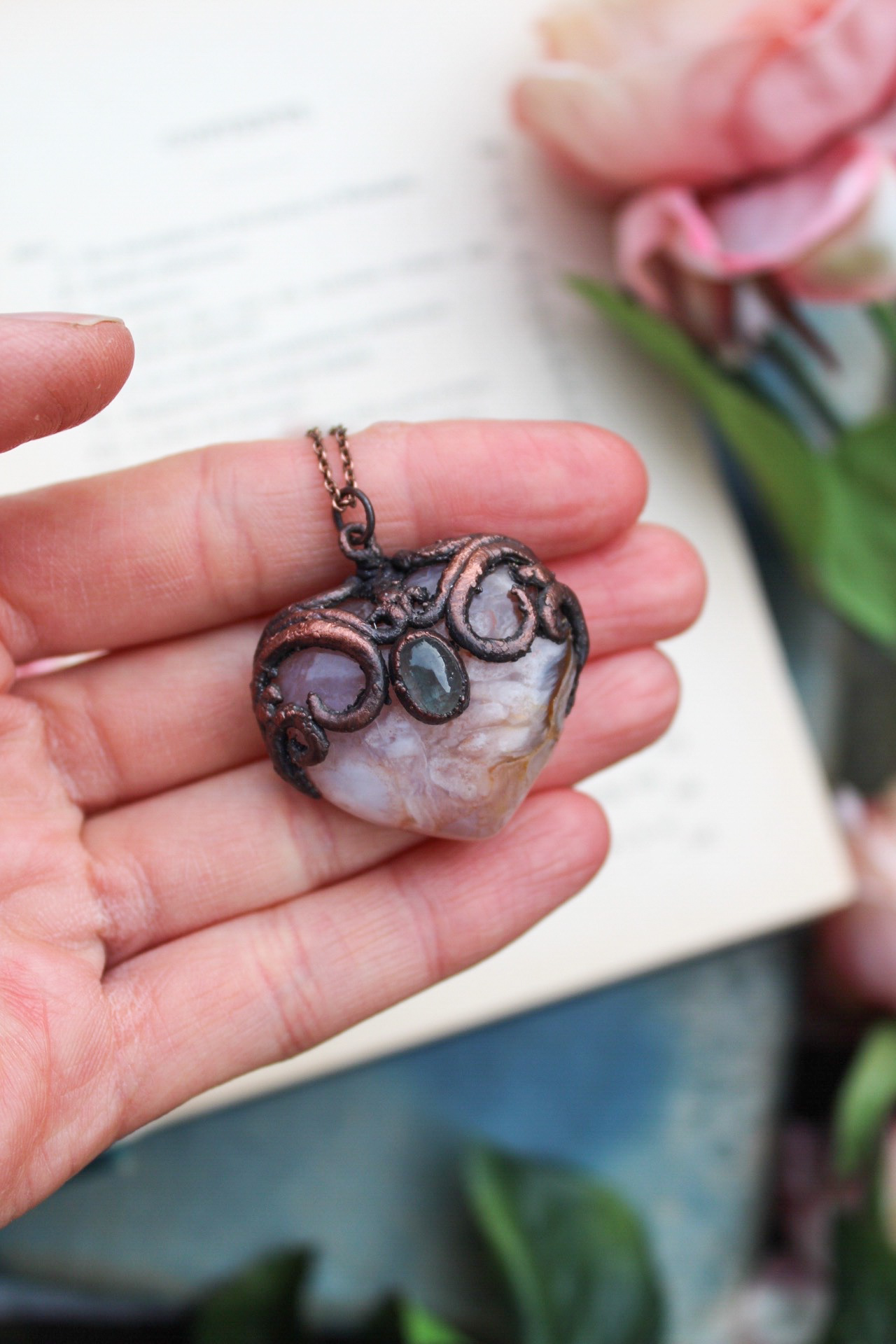 Heart Shaped Blush Blossom Agate Necklace with Tourmaline