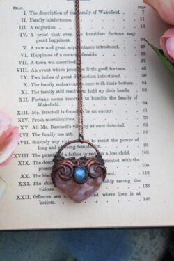 Heart Shaped Blush Blossom Agate Necklace with Labradorite
