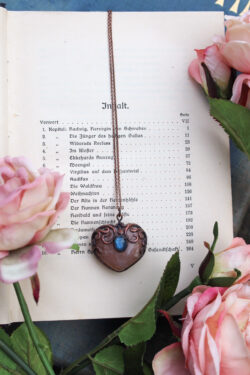 blush blossom agate heart necklace with blue labradorite