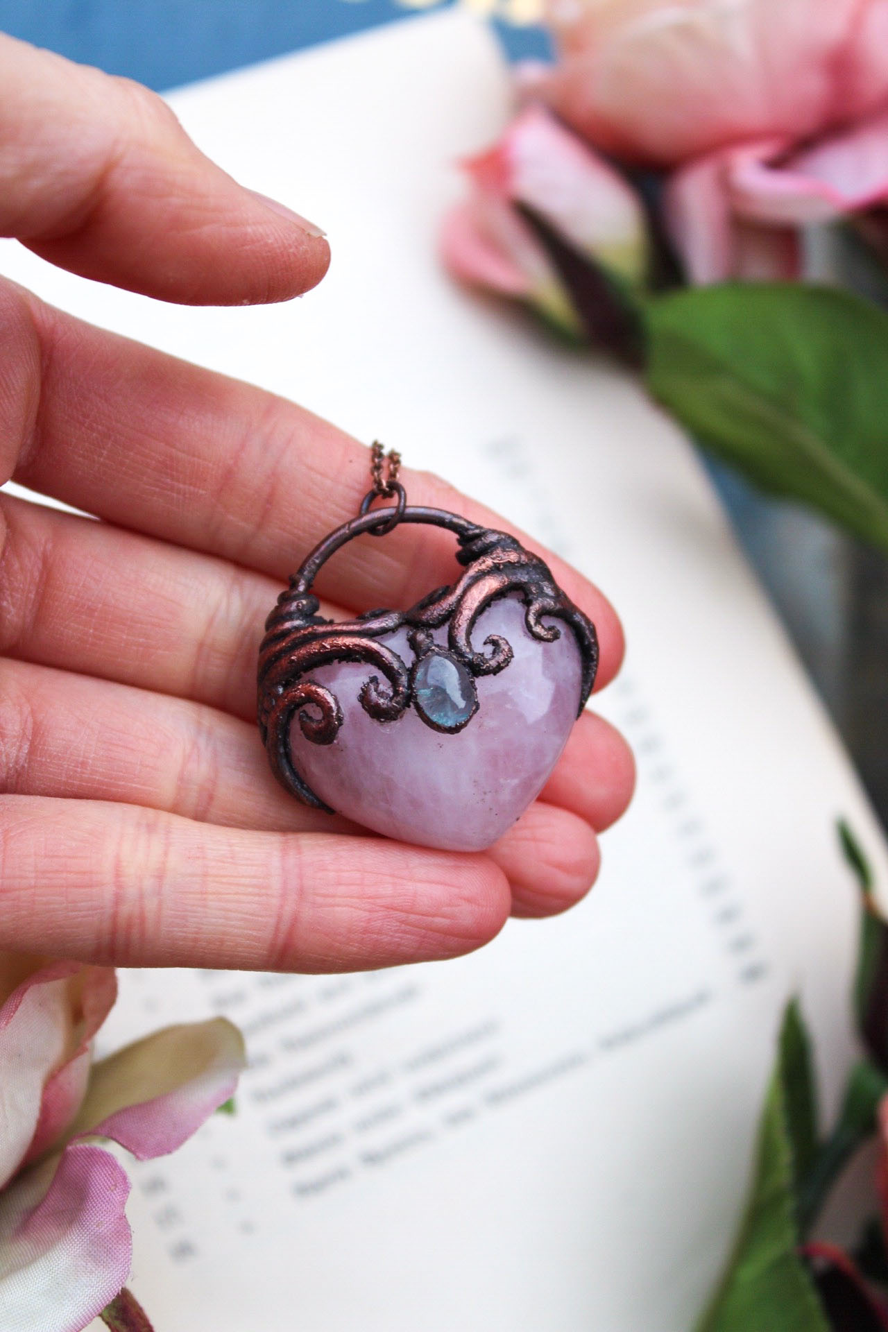 Rose Quartz Heart Necklace with Ocean Blue Tourmaline