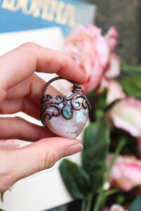 aura blossom agate heart necklace with blue tourmaline