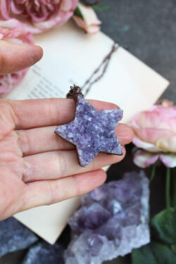 Raw Amethyst Star Necklace with Pearly Beaded Chain