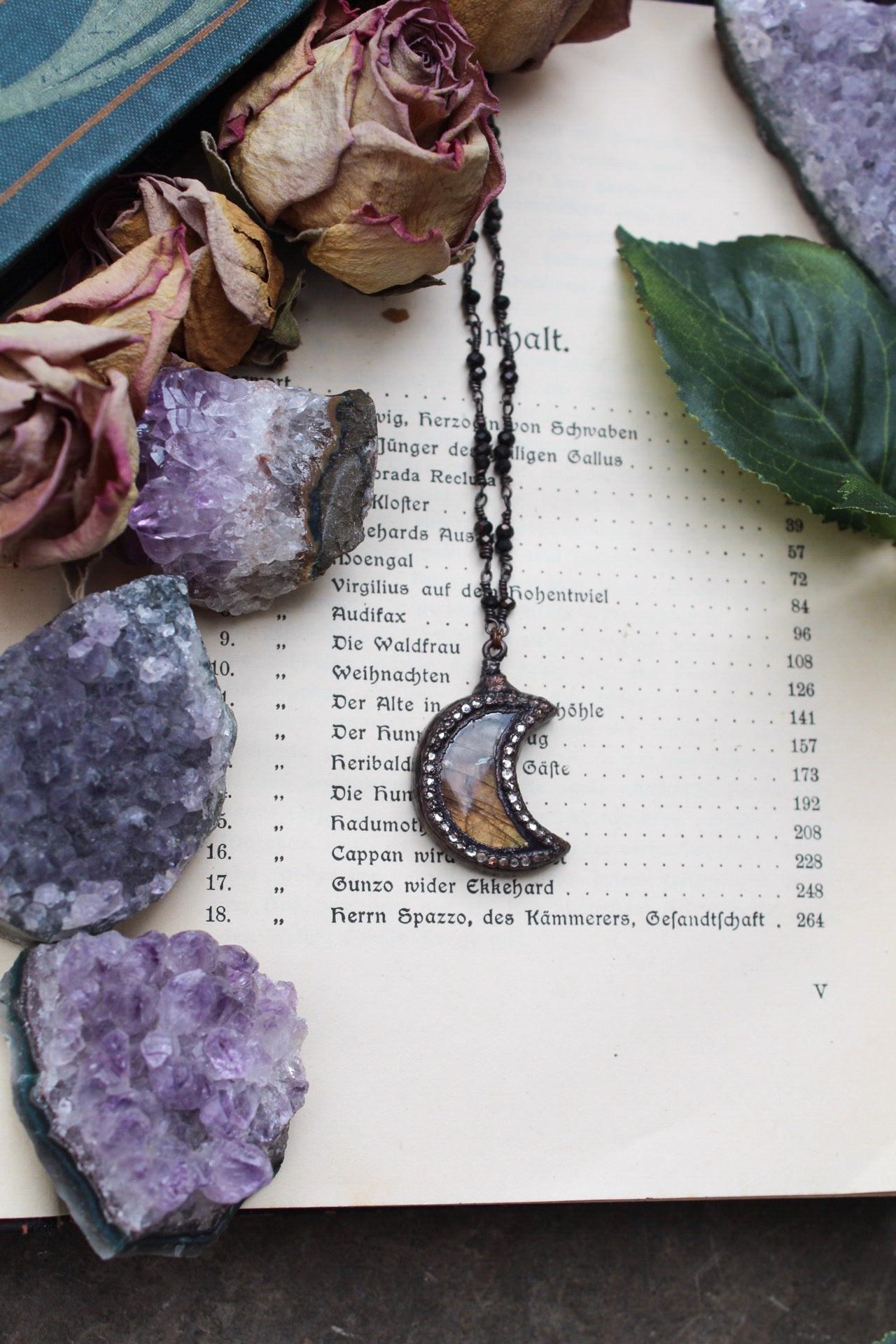 Labradorite Moon Necklace in Orange with Swarovski Crystals