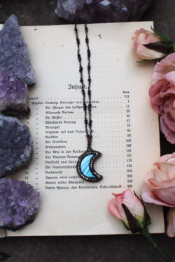 Labradorite Moon Necklace in Bright Blue with Swarovski Crystals