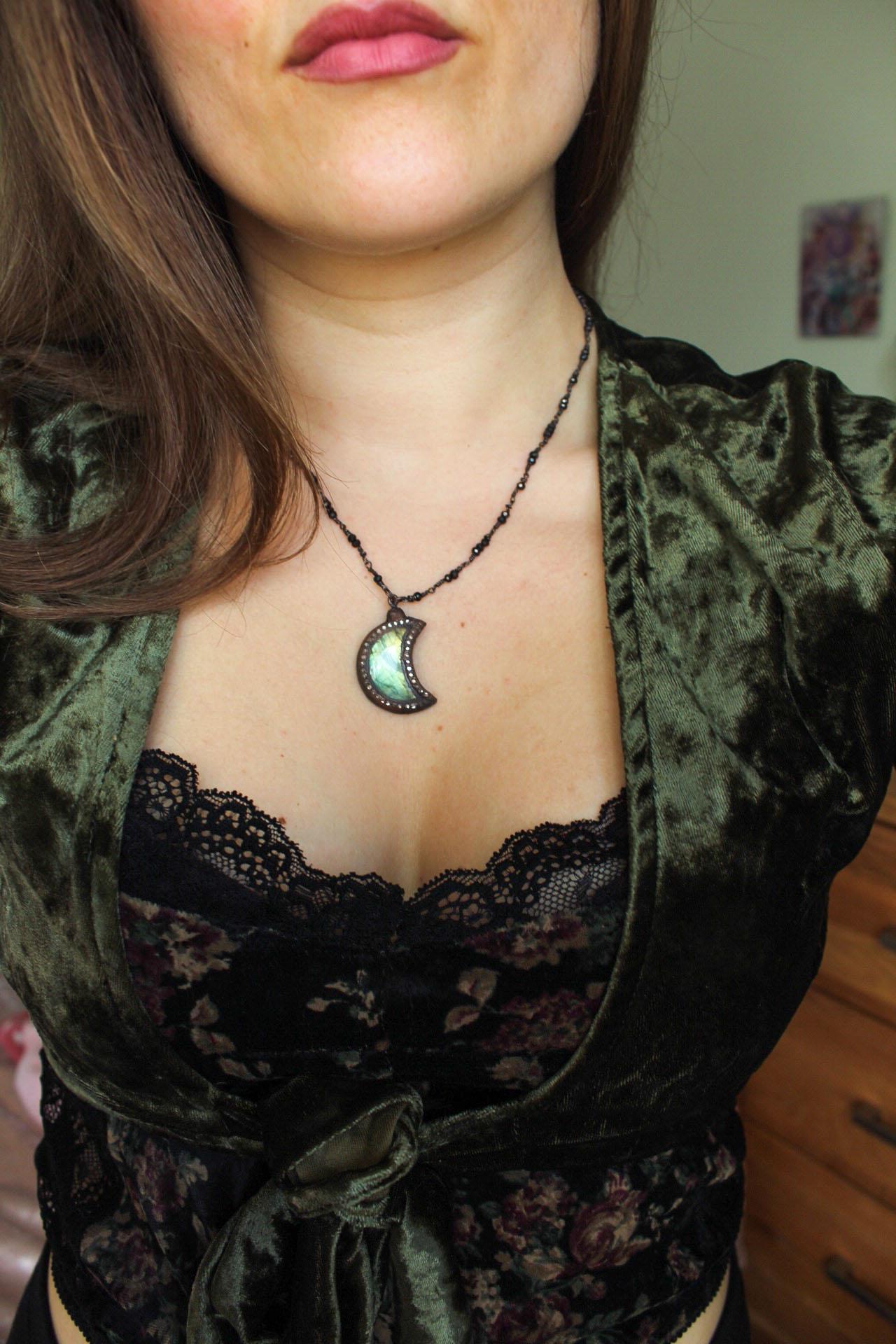 Labradorite Moon Necklace in Golden Green with Swarovski Crystals