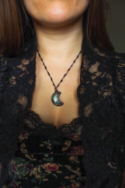 Labradorite Moon Necklace in Forest Green with Swarovski Crystals
